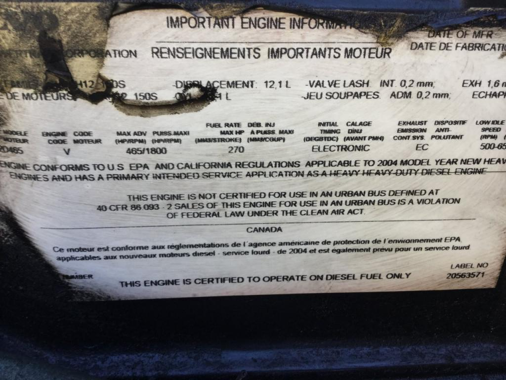 Used Engine Assembly for 2005 VOLVO VNL 4500.00 for sale-57200451