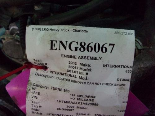 INTERNATIONAL DT466E   Engine Assembly